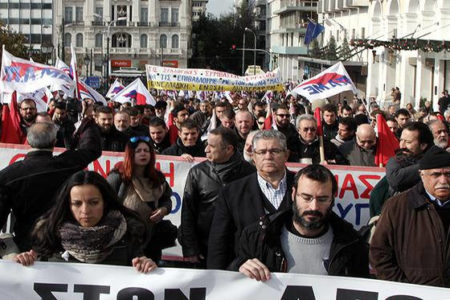 Greece's private and public sector unions on strike