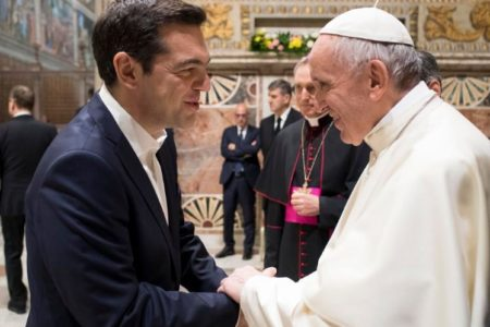 Pope Francis thanks Greek prime minister for his work to support the 'poor and weak'
