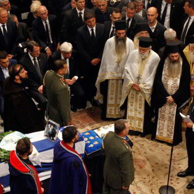 Thousands attend Constantine Mitsotakis' funeral service in Athens