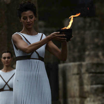 The Olympic Flame travelling to the 23rd Winter Olympic Games in South Korea