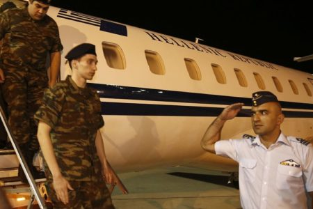 Freed in Turkey before spy trial, Greek soldiers await flight home