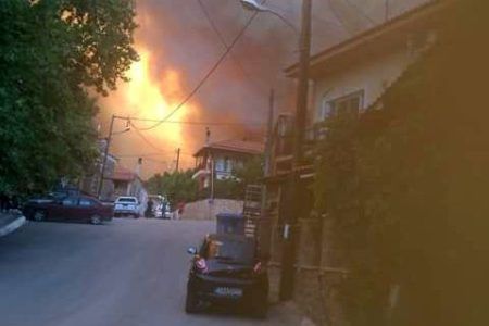 Fire forces evacuations on Greek island of Evia